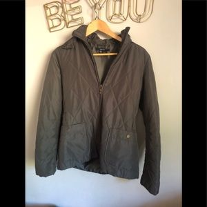 Zara quilted olive green hooded jacket Small